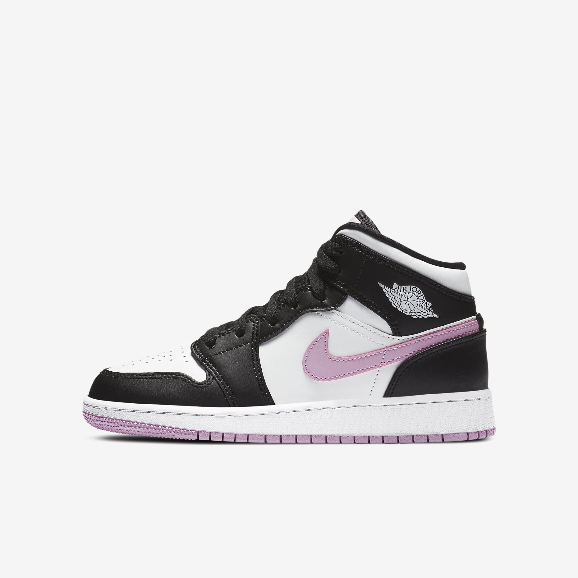 Air Jordan 1 Mid GS 'White/Black/Light Arctic Pink'}