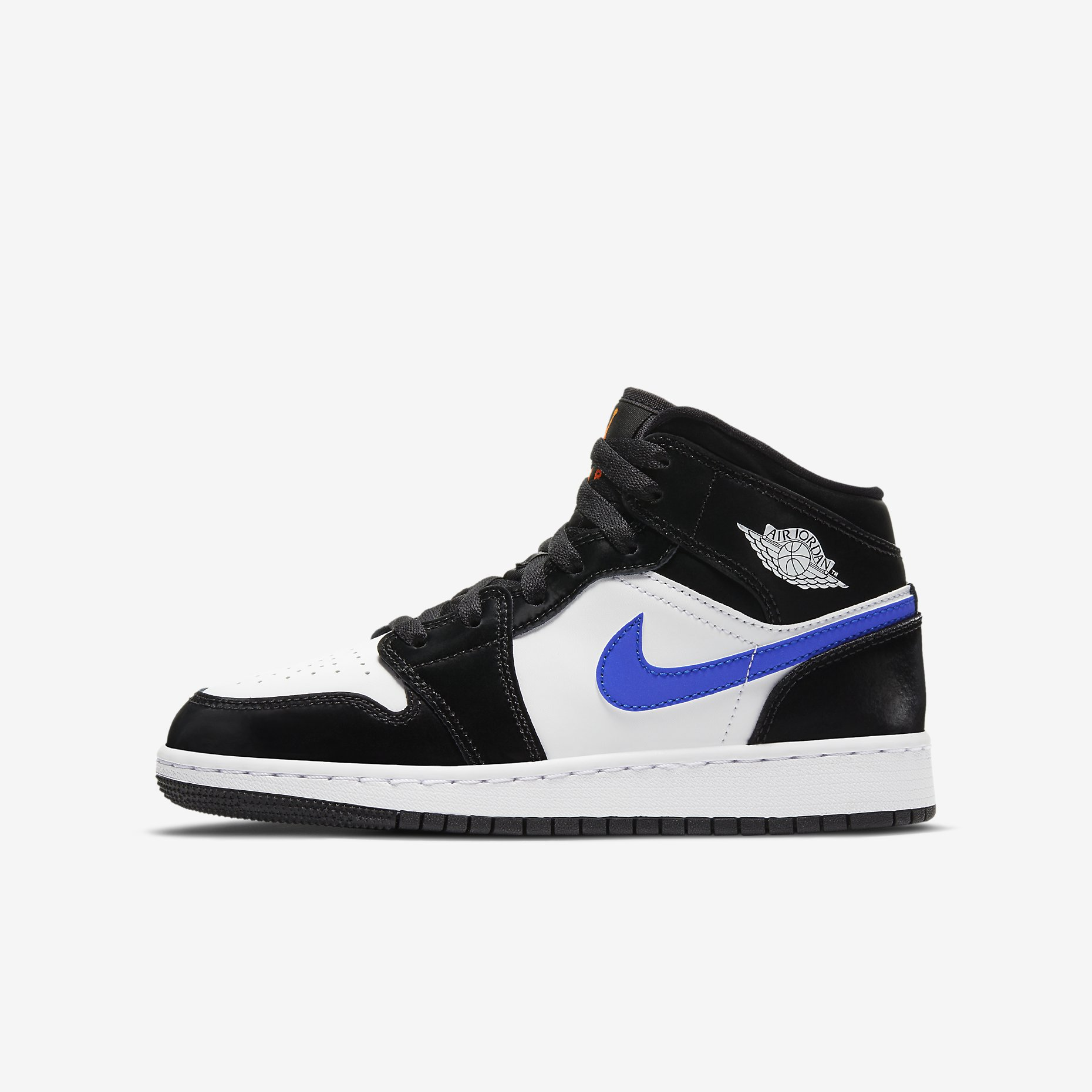 Air Jordan 1 Mid GS 'Black/Racer Blue/White'}